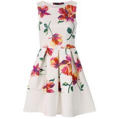 Floral Summer Skater Dress ($46) ❤ liked on Polyvore featuring dresses, vestidos, short dresses, white, short summer dresses, short floral dresses, floral summer dresses, floral skater dress and floral dresses
