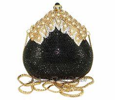 Black & Gold Vintage Style Crystal Evening Bag Clutch Purse with Swarovvski Crys Swarovski Crystal Clutch Purses, Evening Bags, Leather Purs...
