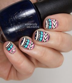 Pastel Tribal Print Nail Art