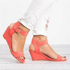 22a3e0329950a1 Women Plus Size Wedges Adjustable Buckle Wedge Sandals – lalasgal