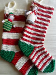 Discover thousands of images about Mini Crochet Christmas Stockings. Crochet these mini rainbow stockings and fill them with a little candy cane and a gift to make it extra special! Crochet Christmas Stocking Pattern, Crochet Stocking, Crochet Christmas Decorations, Crochet Christmas Ornaments, Holiday Crochet, Christmas Knitting, Crochet Home, Crochet Crafts, Crochet Projects