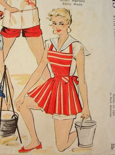 whwould have ever thought that a vintage apron could have so much attitude… Vintage Apron Pattern, Aprons Vintage, Vintage Sewing Patterns, Clothing Patterns, Mccalls Patterns, Apron Patterns, Sunday Clothes, Cute Aprons, Sewing Aprons