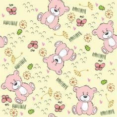 Papel de Parede Adesivo Infantil Ursinhos Rosa