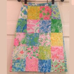"""VTG LILLY PULITZER 60s Patchwork A-line Skirt Mint Absolutely fabulous signature A Line skirt from Lilly Pulitzer when it was The Lilly Sportswear Division - circa's 1960's. Iconic patchwork design, back zip closure, fully lined. Really a stunning piece - perfect for a true Lilly fan. Tag reads a 6 but given this is vintage measurements are more accurate for sizing - waist is 12.55"""" across, 19"""" across at about 8"""" below the waist, 23"""" across at the bottom hem, 25.75"""" long Hand wash Thanks…"""