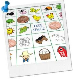 Farm Bingo - Printable game for #farm #birthday party.  What You'll Need:  Our Farm Bingo Cards (file includes 16 bingo cards, 25 picture cards and directions)  Pennies to use as counters (20 per child)  Plastic sandwich bags  A paper bag  1 small prize for each round of bingo you intend to play