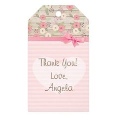 Thank You Baby Shower Pink Flowers Gift Tag - baby shower ideas party babies newborn gifts