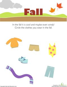 Preschool Weather & Seasons Worksheets: What to Wear in the Fall