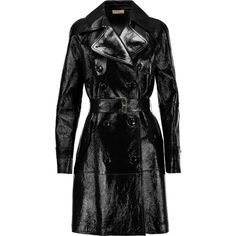 Michael Kors Collection - Textured Patent-leather Trench Coat ($1,766) ❤ liked on Polyvore featuring outerwear, coats, jackets, black, patent leather coat, trench coat, michael kors coats, textured coat and double breasted trench coat