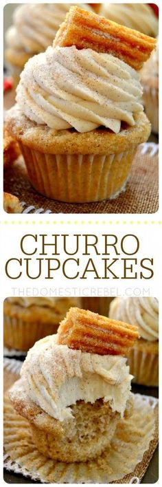CINCO DE MAYO These Churro Cupcakes are bursting with cinnamon sugary goodness in every bite! Perfect for Cinco de Mayo or any occasion that calls for a moist, sweet and fluffy cinnamon-spiced cupcake topped with a crispy churro! Churro Cupcakes, Yummy Cupcakes, Mexican Cupcakes, Cinnamon Cupcakes, Vanilla Cupcakes, Taco Cupcakes, Strawberry Cupcakes, Spice Cupcakes, Baking Cupcakes