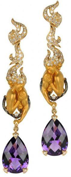 Gold, Diamond and Amethyst Drop Earrings