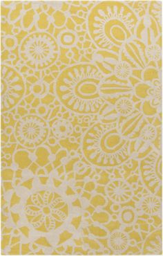 This rug looks like lace and lemonade. Designed by @Kate Spain for her Alhambra Collection for Surya. (ALH-5011)