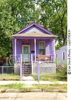 Stock Photo - 1930s Little Purple Cottage - stock image, images, royalty free photo, stock photos, stock photograph, stock photographs, picture, pictures, graphic, graphics