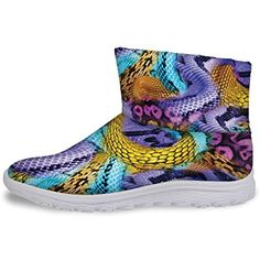 Purple Snake Style Winter Slip On Short Snow Boots for Women Size 10 * Check out the image by visiting the link. (This is an affiliate link and I receive a commission for the sales)