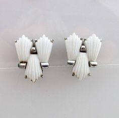Coro Earrings Silver Clip On Backs Thermoset Thermoplastic