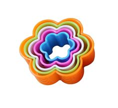 5 PC Multi Colored Flower Pattern Cookie Cutter Set