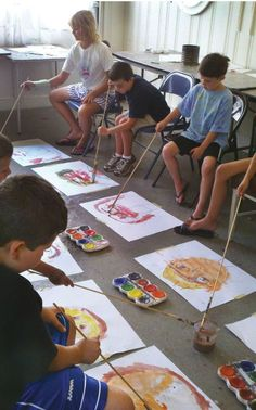 """Crazy Art   One of our most popular weeks of summer camp is """"crazy art,"""" when we do many things that are not allowed in school. #AllLevelsStudioArtLessonPlans #ArtsEd #ArtEducation"""