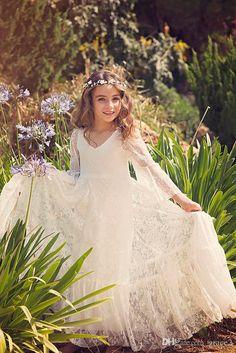 First Communion Dress/Flower Girl Off White Lace Dress/ Boho-chic Girls Dress /Lace dress for girls /Boho flower girl dress,Bohemian Wedding