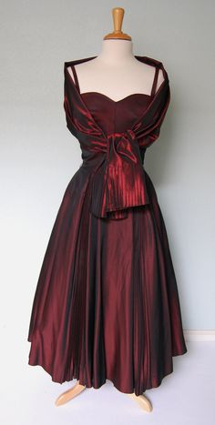 1950s Satin Strappy Dress with Crystal Pleats and Matching Wrap - Luminous. $148.00, via Etsy.