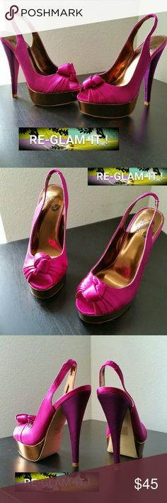COLIN STUART. ....GORGEOUS COLOR BLOCK...HEELS ...EXCELLENT CONDITION  ...NORMAL WEAR ...NO FLAWS  ...GORGEOUS  ...A MUST HAVEEEEE  ...True to its size and color  ...color...fushia / pink / bronze gold ...colorblock. ...2 pic up close  ...cute bow on front  ...open toe  ...elastic strap on back for comfort  ...4 pic minor wear as shown ...scuffs  ...HEEL...adding soon ...better in person Colin Stuart Shoes Heels
