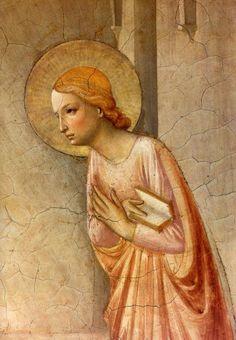 BEATO ANGELICO - Annunciazione, dettaglio Vergine - affresco - 1438-1440 - cella n. 3 - Convento-Museo N. di San Marco, Firenze