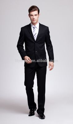 Custom Black Single Breasted Two Buttons Side Vent Slim Fit Mans Business Suits Male Ternos (Jacket+Pants+Tie) BS008 Business