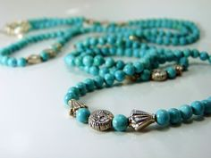 """Over 42"""" of Turquoise & Silver by ksyardbird  - Wear it as a necklace OR wrap bracelet."""