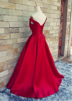 Buy discount Marvelous Satin Off-the-shoulder A-Line Prom Dresses With Pleats at Magbridal.com