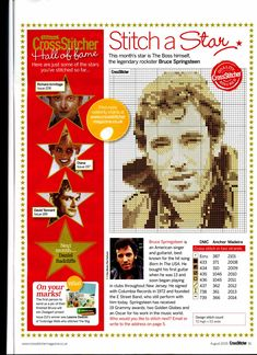 Bruce Springsteen From Cross Stitcher N°215 August 2009