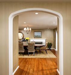 Eyebrow arch in deep wall. Arched Interior Doorway Design Ideas, Pictures, Remodel and Decor Room Paint Colors, Paint Colors For Home, Arch Interior, Room Interior, Interior Design, Home Decor Online, Diy Home Decor, Arched Doors, Dining Chair Slipcovers