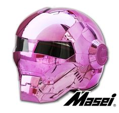 Masei Pink Chrome 610 Atomic-Man Motorcycle Harley Chopper DOT Helmet
