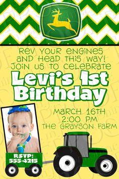 Free John Deere Invitations Template Nd Birthday Pinterest - John deere 2nd birthday party invitations
