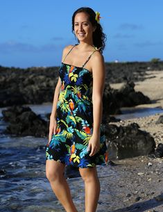 82a473b9755 Check out the deal on Resort Smock Short Dress Parrots Paradise at Shaka  Time… Hawaiian