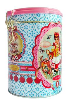 Cotton Candy Sugar Tin from Wu & Wu. This beautiful sugar tin is covered in illustrations by talented artist Fiona Hewitt and features an adorable flying carousel horse! A perfect kitsch kitchen accessory, with matching tea, sugar and cookie tins available! Tin measures approximately 16cm high x 11cm in diameter.