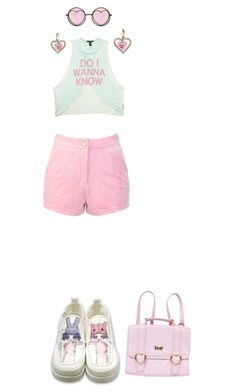 One two three, oh come on let's go! by rainbowbritez on Polyvore featuring Forever 21, Betsey Johnson, contest, croptop, pastel and jfashion