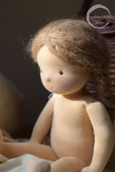 """14"""" Waldorf doll with light brown hair made using brushed mohair yarn. She has pale skin made of excellent quality swiss jersey."""