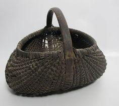 Antique 1800's Oak Splint Gathering Mellon Basket Pennsylvania Estate      Sold  Ebay  210.00