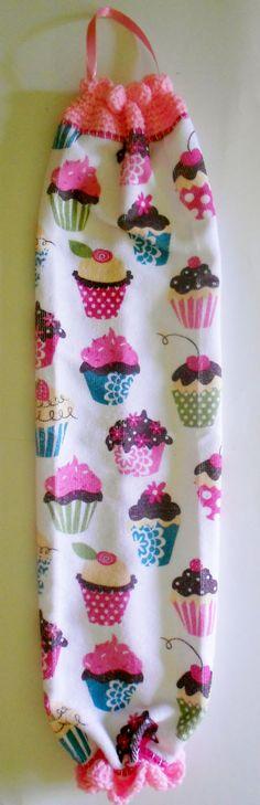 Bag Holder Cupcake Kitchen Decor Crochet by EastTennesseeCrafts, $12.00