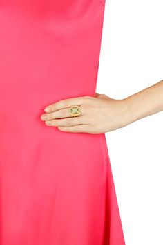 Gold plated green calcedony ring by Urban Dhani.  Shop now: http://www.perniaspopupshop.com/designers/urban-dhani    #shopnow #perniaspopupshop #rurbandhani #accessories