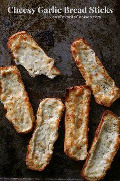 Cheesy Garlic Bread Sticks from Jen's Favorite Cookies - #gametimegoodies