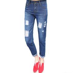 Free Shipping Fashion Women Jeans Loose Ankle-Length Ripped Hole Harem Denim Pants Korean Style Casual Mid-Waist Femme Trousers