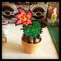 Cactus with flower perler beads by strider_sc