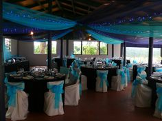 Brookfields Double blue Organza with Blue LED Lights