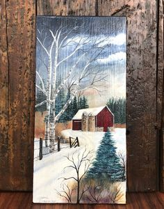 This beautiful painting of an old barn in a winter scene, encompasses our rich American heritage. It is painted on a reclaimed cedar board from an old. Christmas Paintings, Christmas Art, Tole Painting, Painting On Wood, Painting Trees, Winter Szenen, Farm Paintings, Winter Painting, Pictures To Paint