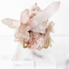 blush hued Pink Himalyan Quartz with  crystal points.
