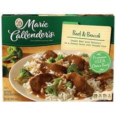 Marie Callender's Beef & Broccoli meal combines marinated slices of beef served over white rice and broccoli. Taste the savory goodness tonight.