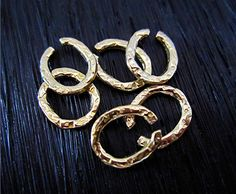 Rustic Gold Bronze Textured Artisan Jump by VDIJewelryFindings