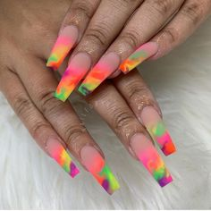 Unique Matte Ombre Coffin Nails Art Designs In Summer - acrylic nails Summer Acrylic Nails, Best Acrylic Nails, Acrylic Nail Designs, Summer Nails, Spring Nails, Holiday Acrylic Nails, Dope Nail Designs, Rainbow Nail Art Designs, Summer Nail Polish