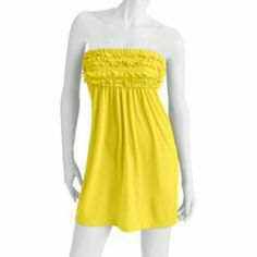 "OP Junior's Ruffle Front Dress, New! OP Junior's Ruffle Front Dress in Supercharge Yellow.  Length is 24"", Size is 7-9 and is NEW without Tags. Can be used as swim cover up or summer dress. OP Swim Coverups"