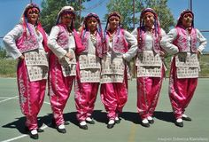 Traditional festive costume from the province of Kırklareli.  Mid 20th century.  These are recent workshop-made copies, as worn by folk dance groups.