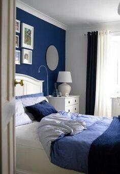 Habitacion azul y blanco